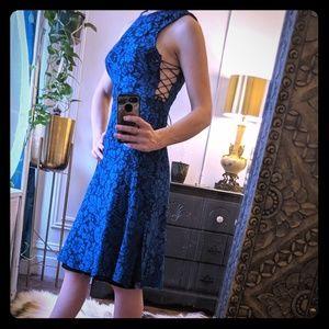 Topshop Royal Blue/Black Tie Up Midi Dress